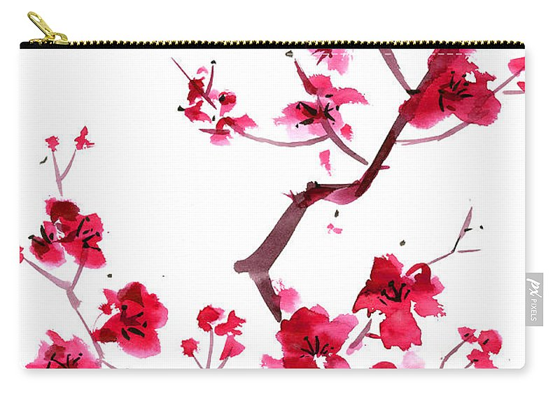 Watercolor Painting Carry-all Pouch featuring the digital art Plum Blossom Painting by Kaligraf