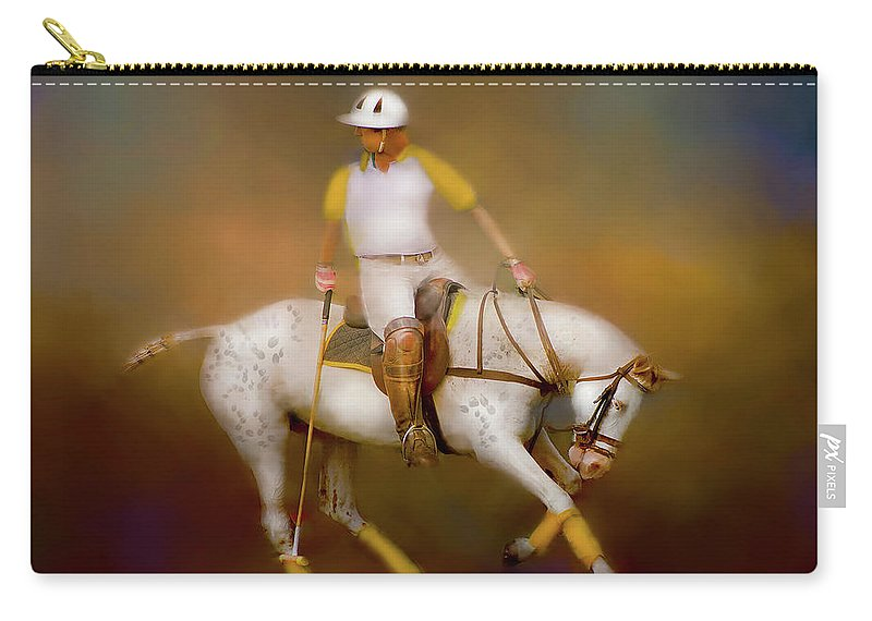 Polo Carry-all Pouch featuring the digital art Polo Twist by Kari Nanstad