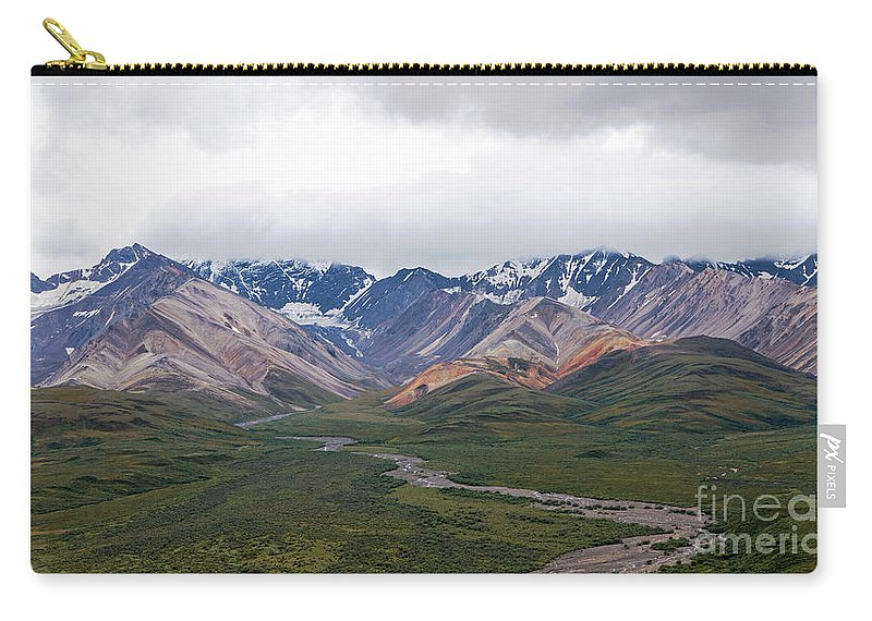 Polychrome Carry-all Pouch featuring the photograph Polychrome Pass In Denali National Park by Ralf Broskvar
