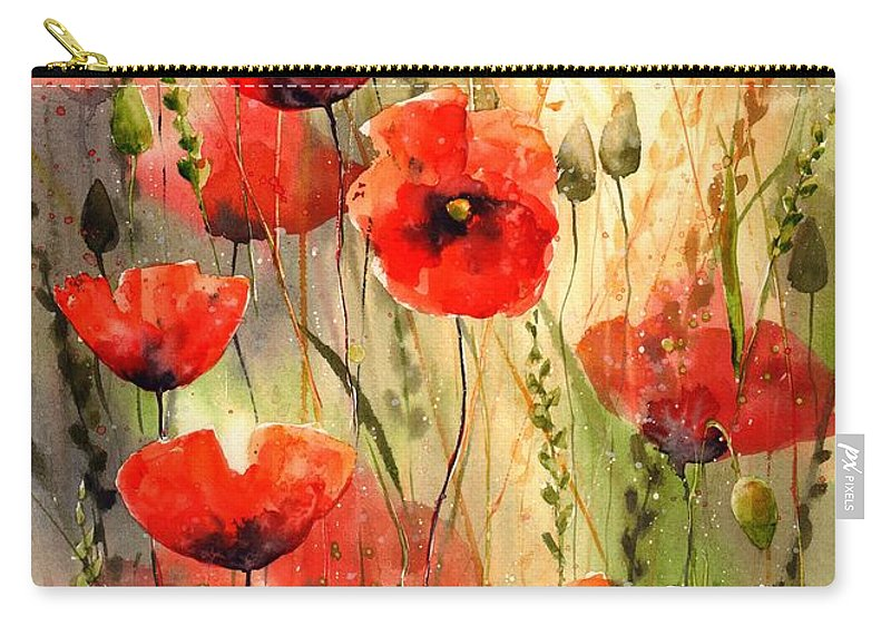 Red Carry-all Pouch featuring the painting Poppy Serenade by Suzann Sines