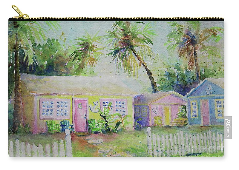 Port Aransas Carry-all Pouch featuring the painting Port A Cabins by Marsha Reeves