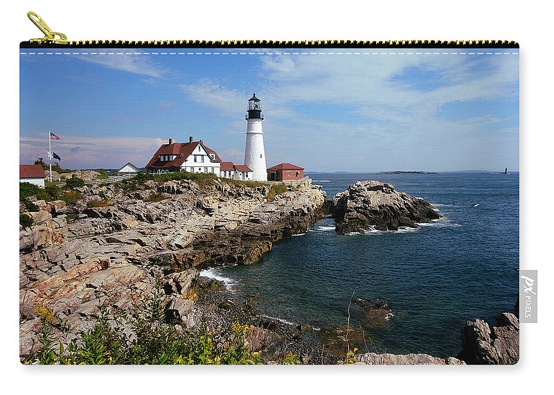 Portland Head Lighthouse Carry-all Pouch featuring the photograph Portland Head Light by Stephen Path