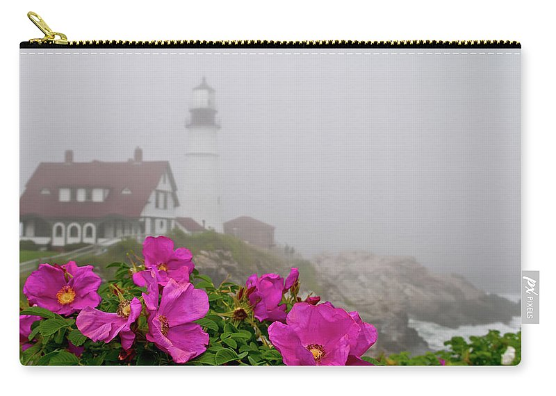 Built Structure Carry-all Pouch featuring the photograph Portland Headlight With Rosa Rugosa And by Www.cfwphotography.com