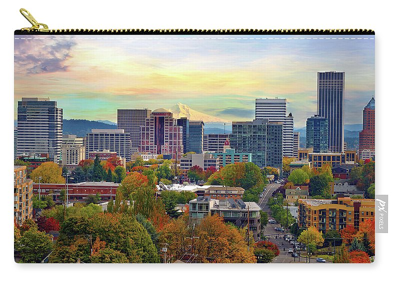Viewpoint Carry-all Pouch featuring the photograph Portland Oregon Downtown Cityscape In by David Gn Photography