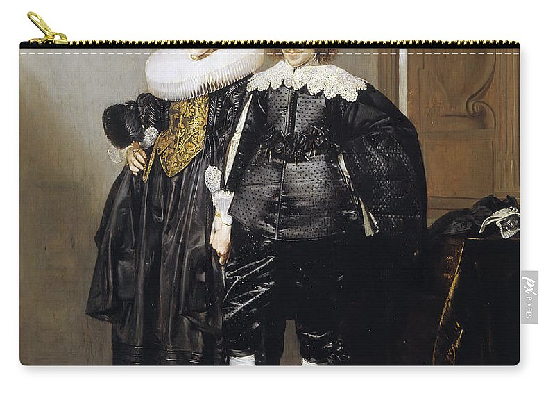 Pieter Codde Carry-all Pouch featuring the painting Portrait Of A Betrothed Couple by Pieter Codde