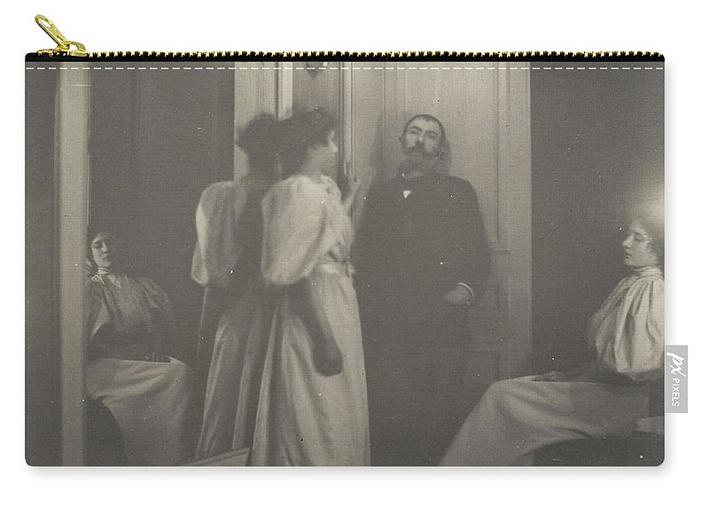 Edgar Degas Carry-all Pouch featuring the painting Portrait Of Henry Lerolle With Two Of His Daughters by Edgar Degas