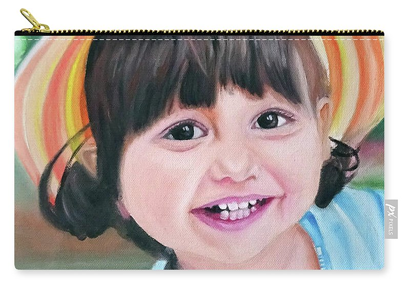 Carry-all Pouch featuring the painting Portrait Of Little Girl. by Calin Vacaru