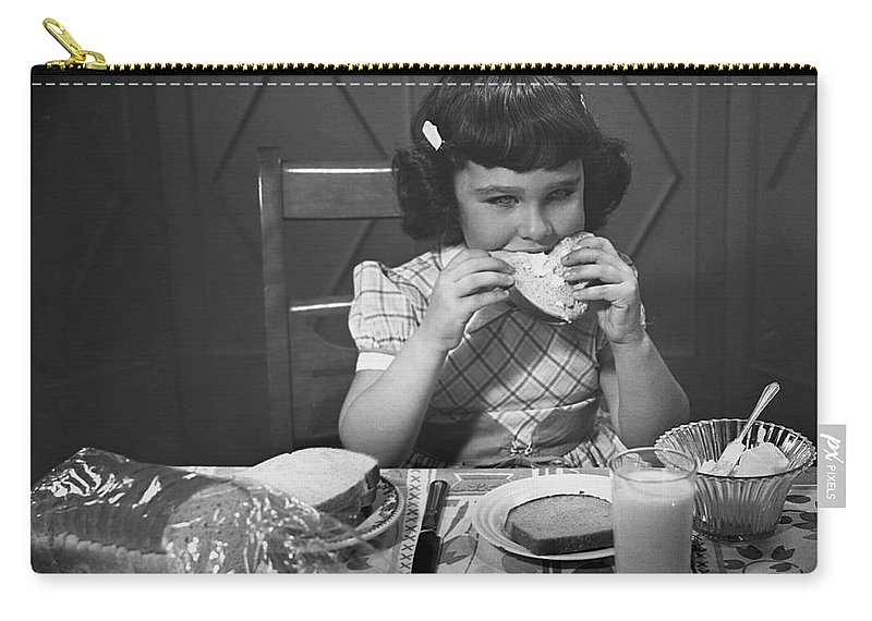 Milk Carry-all Pouch featuring the photograph Portrait Of Little Girl Eating Buttered by George Marks