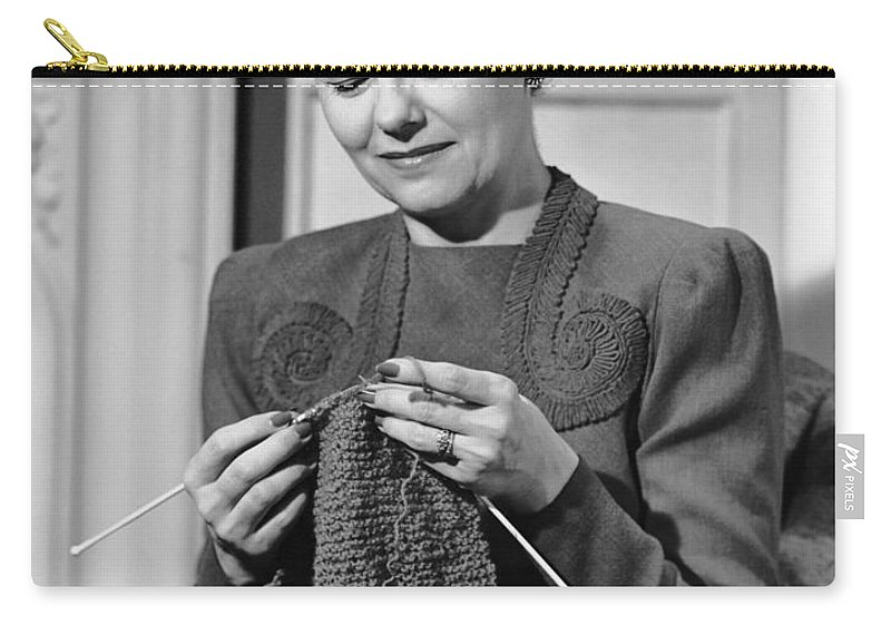 Mature Adult Carry-all Pouch featuring the photograph Portrait Of Mature Woman Crocheting by George Marks