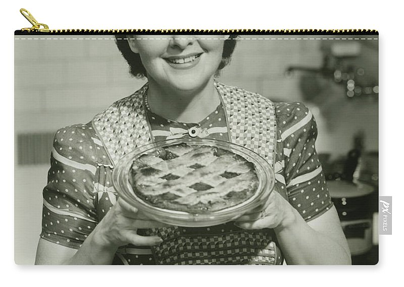Mature Adult Carry-all Pouch featuring the photograph Portrait Of Mature Woman Holding Pie by George Marks