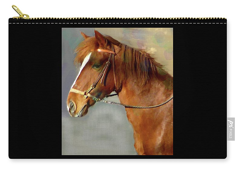 Chestnut Color Carry-all Pouch featuring the mixed media Portrait Of The Paso Fino Mare - Fierce And Gentle by Patricia Keller