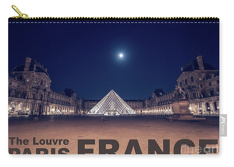 1st Arrondissement Carry-all Pouch featuring the photograph Poster Of The Louvre Museum At Night With Moon Above The Pyrami by PorqueNo Studios