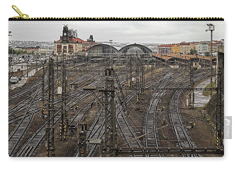 Train Station Carry-all Pouch featuring the photograph Prague Main Train Station - 1 by Hany J