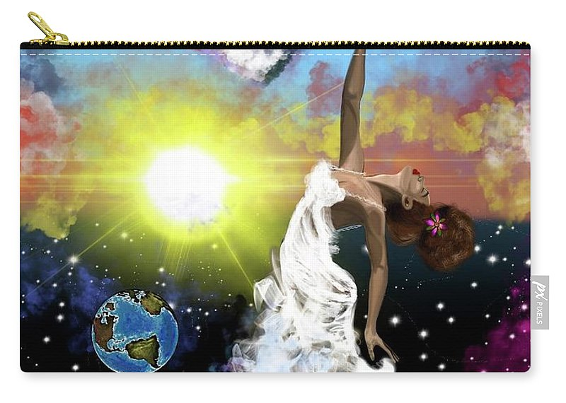 Carry-all Pouch featuring the painting Prayer before the Sun Sets by Artist RiA