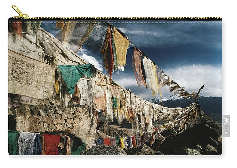 Himalayas Carry-all Pouch featuring the photograph Prayer Flags Above Leh, Ladakh, Leh by Richard I'anson