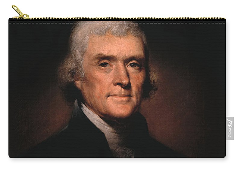 Thomas Jefferson Carry-all Pouch featuring the painting President Thomas Jefferson by War Is Hell Store