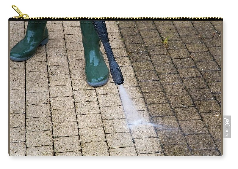 Water Carry-all Pouch featuring the mixed media Pressure Washing Specialist At Lake Nona by Pressure Washing