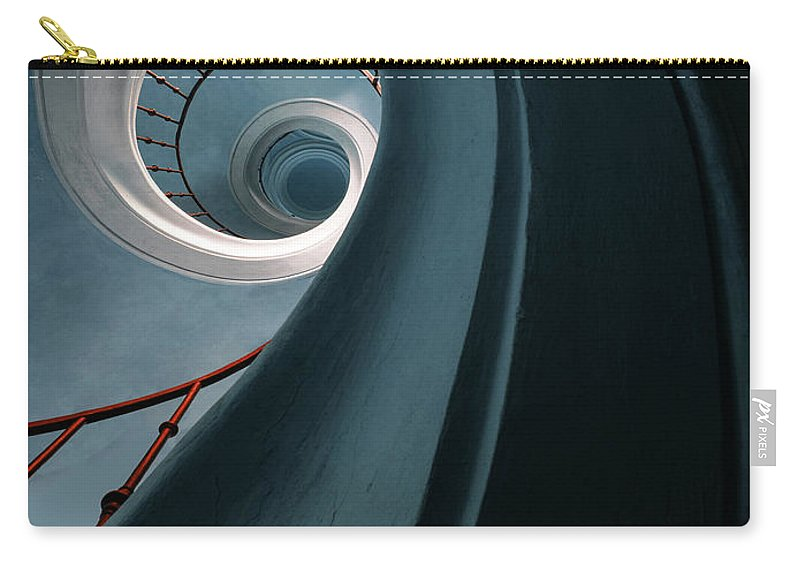 Stairway Carry-all Pouch featuring the photograph Pretty Blue Spiral Staircase by Jaroslaw Blaminsky