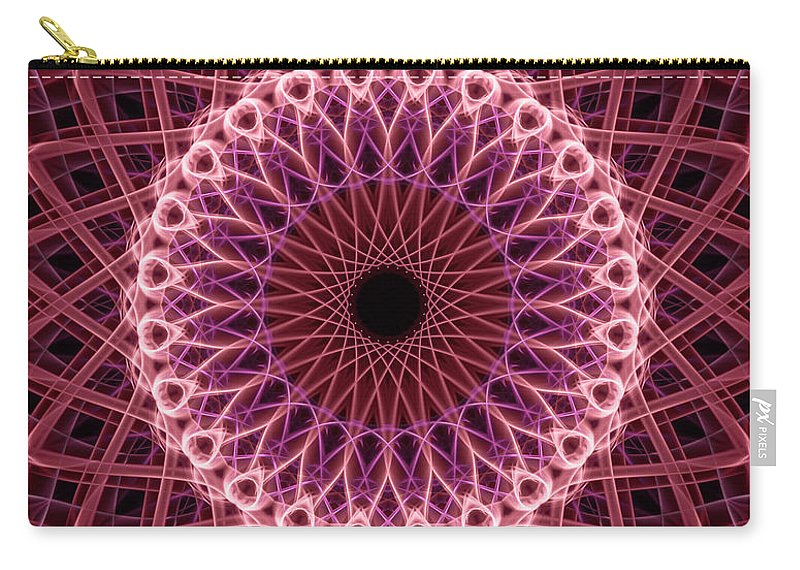 Mandala Carry-all Pouch featuring the digital art Pretty Mandala In Red And Creamy Colors by Jaroslaw Blaminsky