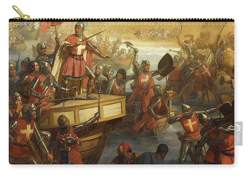 Siege Of Smyrna Carry-all Pouch featuring the painting Prise Du Chateau De Smyrne by Charles-Alexandre Debacq