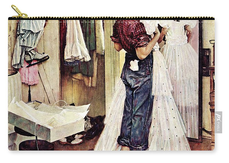 Dresses Carry-all Pouch featuring the drawing Prom Dress by Norman Rockwell