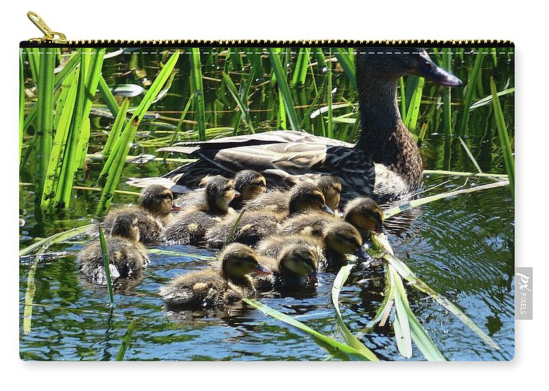 Ducklins Carry-all Pouch featuring the photograph Proud Mother Duck by Ingrid Huetten