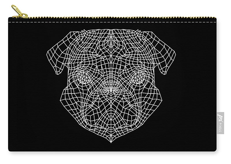 Pug Carry-all Pouch featuring the digital art Pug's Face Mesh by Naxart Studio