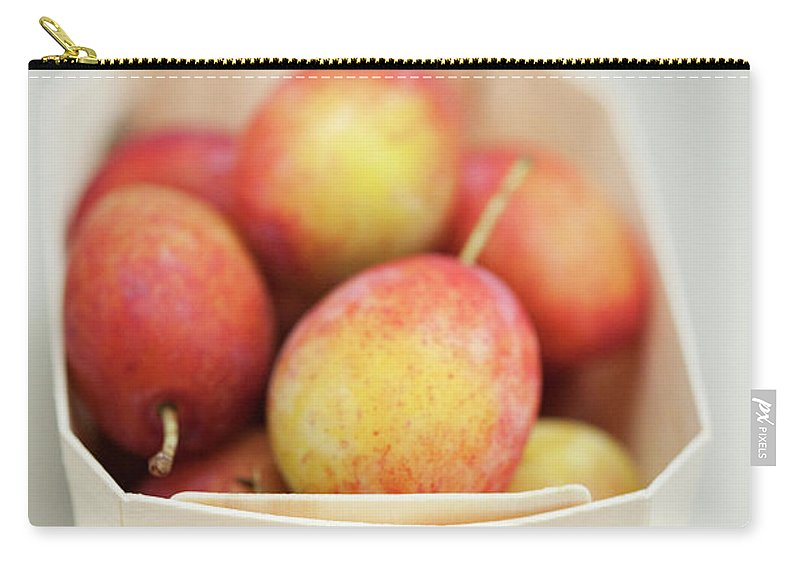 Plum Carry-all Pouch featuring the photograph Punnet Of Victoria Plums by Diana Miller