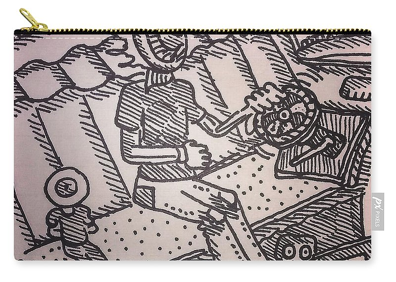 Eye Pen Crosshatch Ink Trippy Car Interior Carry-all Pouch featuring the drawing Pupil And Student by Mark Borek