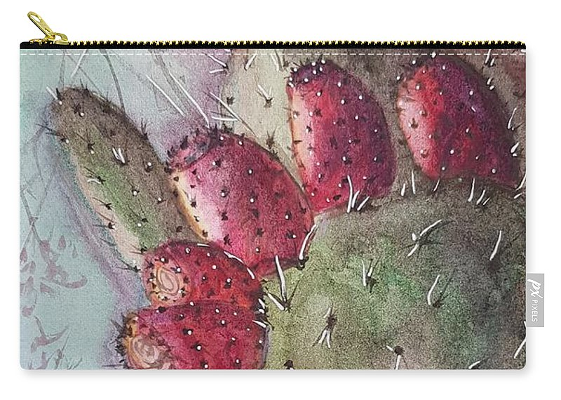 Purple Carry-all Pouch featuring the painting Purple Pricky Pear Cactus by Paola Baroni