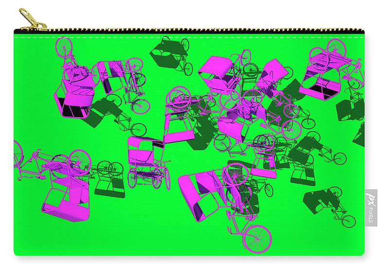 Rickshaws Carry-all Pouch featuring the digital art Purple Rickshaws Flying by Heike Remy