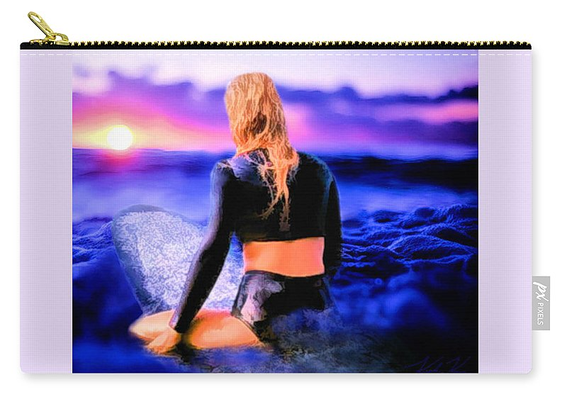 Surf Carry-all Pouch featuring the digital art Purrrple Patience by Keith Kos