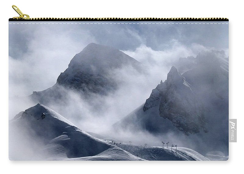 Scenics Carry-all Pouch featuring the photograph Pyramide And Roc Merlet In Courchevel by Niall Corbet @ Www.flickr/photos/niallcorbet