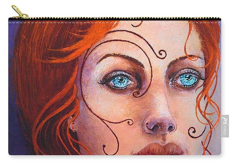 Goddess Carry-all Pouch featuring the painting Pythia by KarenElizabeth Balon
