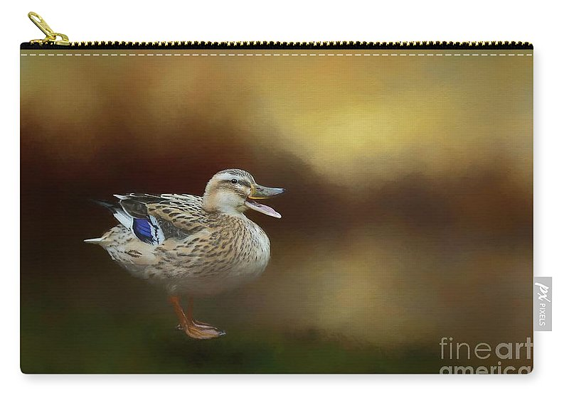 Mallard Carry-all Pouch featuring the mixed media Quack Quack by Eva Lechner
