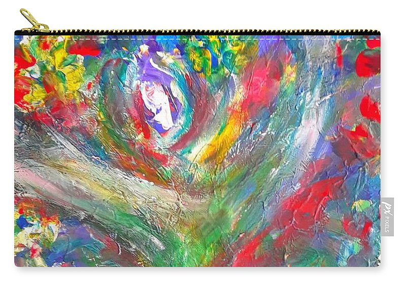 Lotus Carry-all Pouch featuring the painting Queen Of The Lotus Flower by Marilyn Ingrid St-Pierre