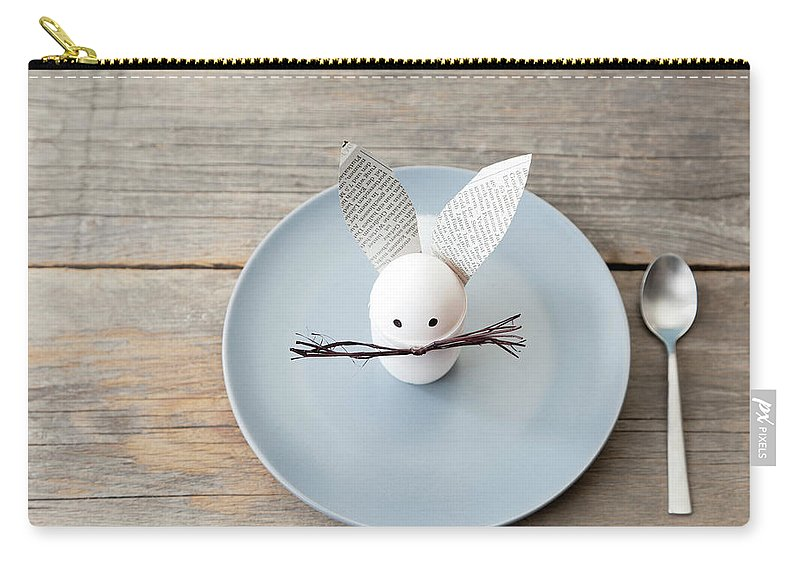 Holiday Carry-all Pouch featuring the photograph Rabbit Decoration On Plate by Stefanie Grewel