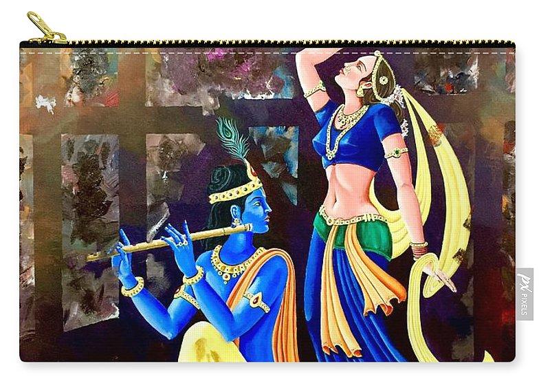 Indian Artist Peeyush Sharma Carry-all Pouch featuring the painting Radhakrishna by Peeyush Sharma