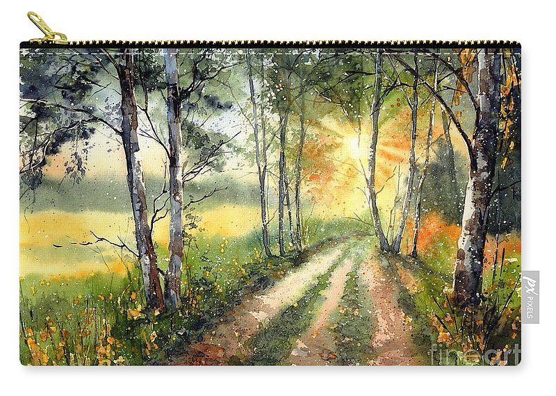 Floral Carry-all Pouch featuring the painting Radiant Sun On The Autumn Sky by Suzann Sines