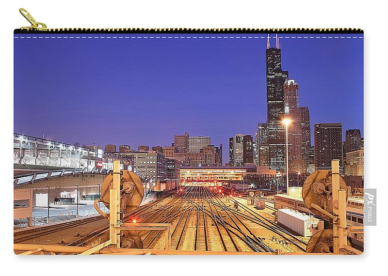 Railroad Track Carry-all Pouch featuring the photograph Rail Tracks by Joseph Balynas