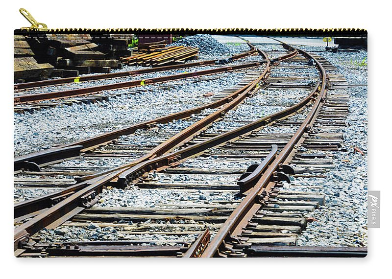 Railroad Carry-all Pouch featuring the photograph Railroad Siding Tracks by Paul W Faust - Impressions of Light