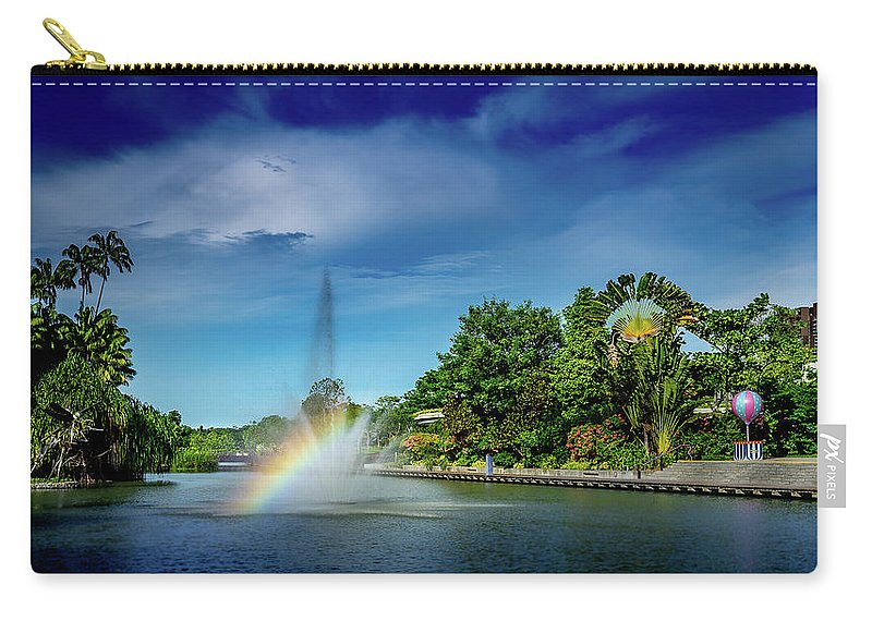 Rainbow Carry-all Pouch featuring the photograph Rainbow By The Pool by HM Tan