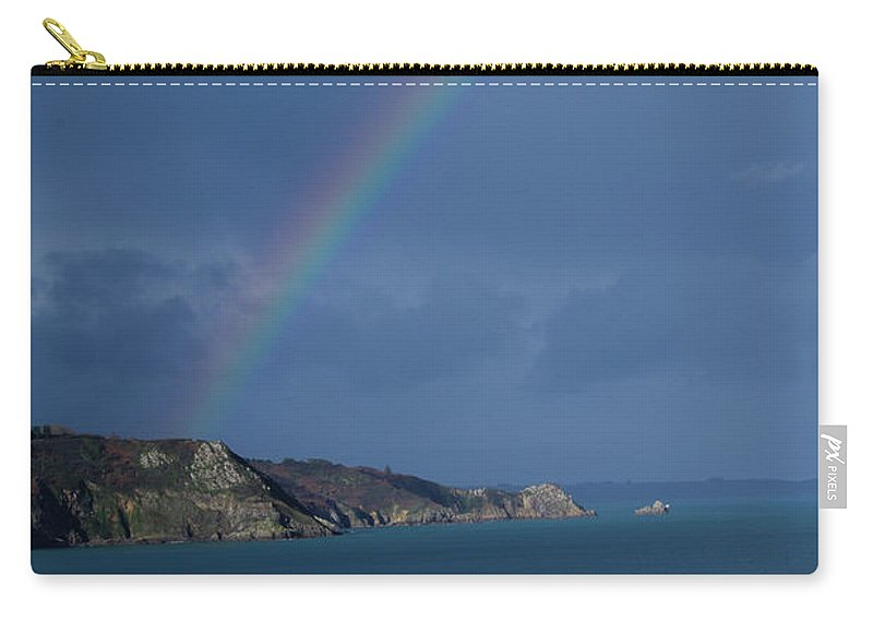 Rainbow Carry-all Pouch featuring the photograph Rainbow Down To The Coast by Brian Fernee