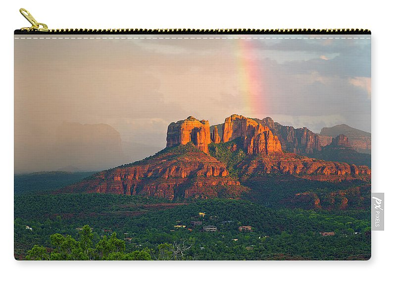 Scenics Carry-all Pouch featuring the photograph Rainbow Over Arizona Scenery by Dougberry