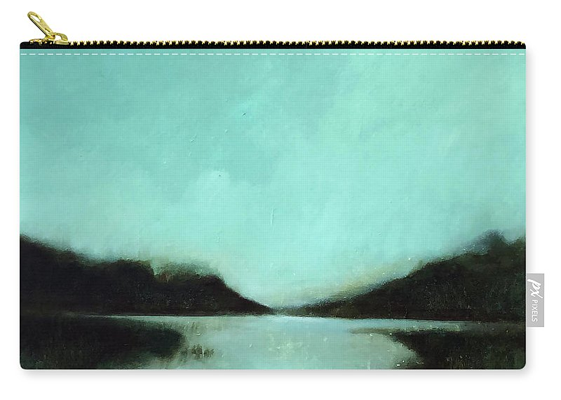 Landscape Painting Carry-all Pouch featuring the painting Rainy Day At The Lake by Filomena Booth