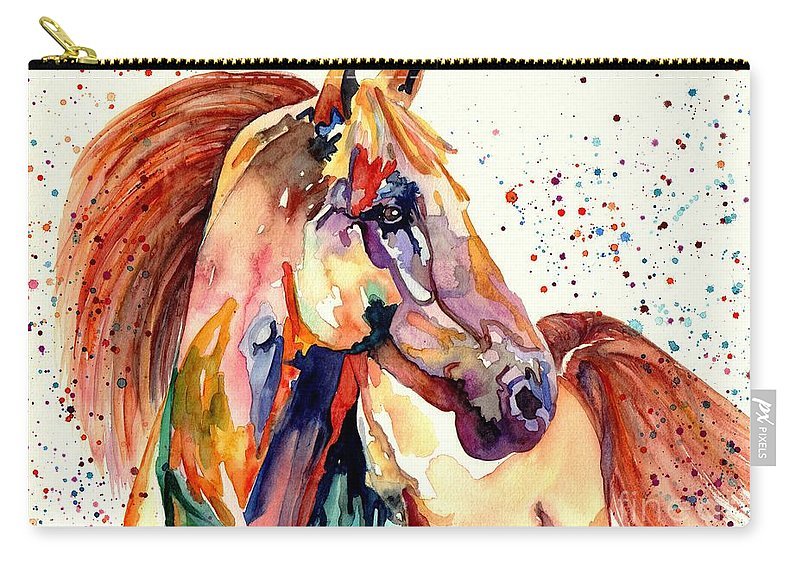 Watercolor Carry-all Pouch featuring the painting Rainy Horse by Suzann Sines
