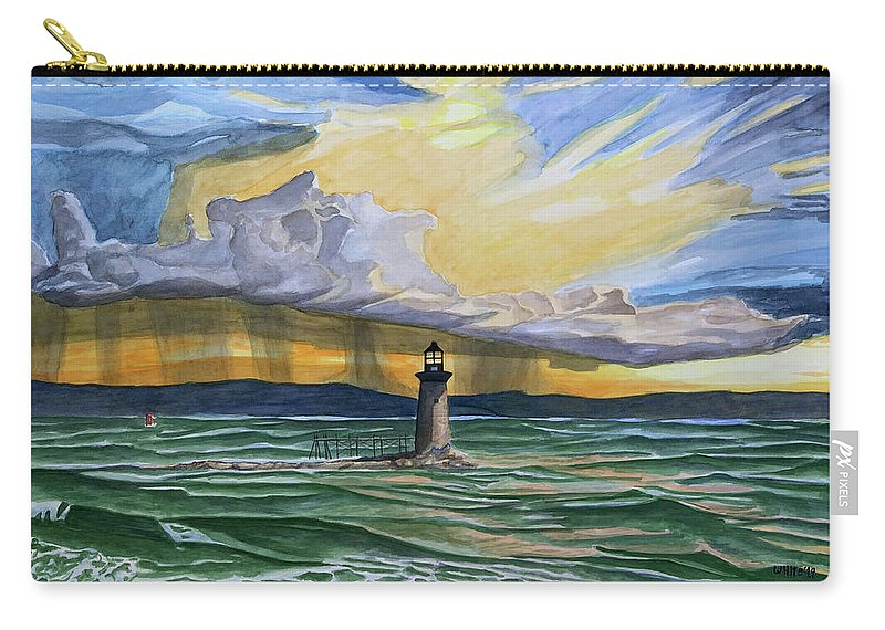 Ram Island Ledge Light Carry-all Pouch featuring the painting Ram Island Edge Light by Dominic White