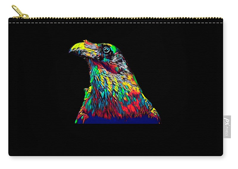 Bird Carry-all Pouch featuring the digital art Raven Head Weird Bird Lucky Vintage Design by Super Katillz