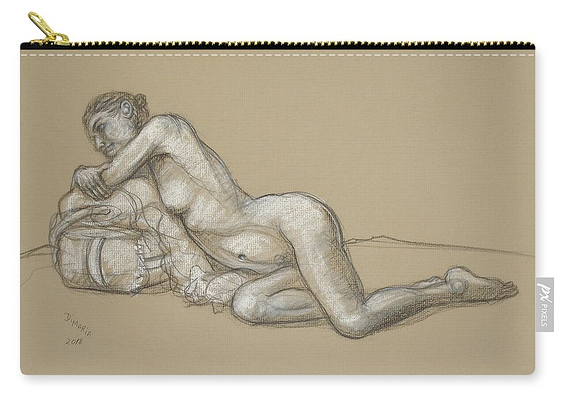 Realism Carry-all Pouch featuring the drawing Rebecca Reclining 1 by Donelli DiMaria