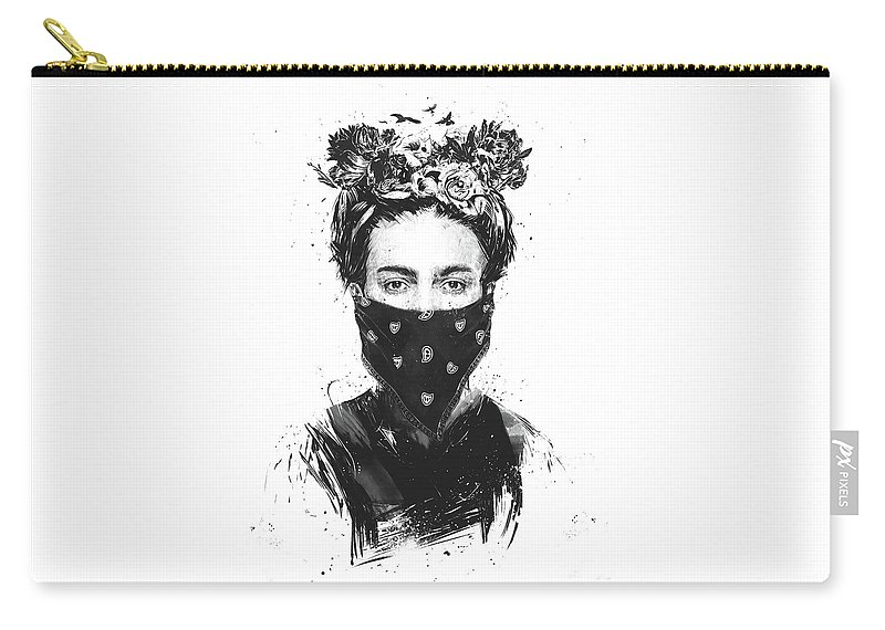 Girl Carry-all Pouch featuring the drawing Rebel girl by Balazs Solti
